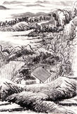 Chinese painting landscape. On paper Stock Image