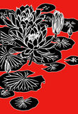 Chinese painting of lotus. Drawing of beautiful lotus flower pattern in a red background Royalty Free Stock Photos