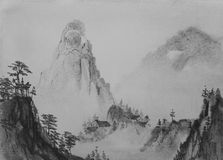 Chinese painting Mountain Royalty Free Stock Photo
