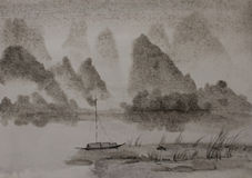 Chinese painting mountains and junk Royalty Free Stock Photos