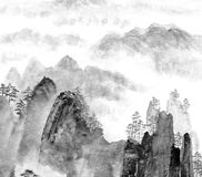 Chinese Painting Of Mountain And Cloud Royalty Free Stock Photo