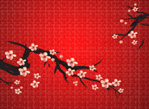 Chinese painting of plum. On the red background, meaning chinese spring festival vector illustration