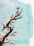 Chinese painting of plum. On the blue background vector illustration