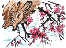 Chinese painting riverside Plum flower. On paper Stock Photography