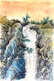 Chinese painting sunset waterfall. On paper Royalty Free Stock Photo