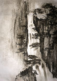 Chinese painting waterfall Royalty Free Stock Image