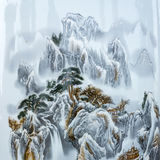 Chinese paintings of mountains Royalty Free Stock Photo