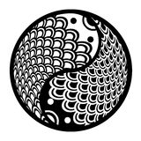 Chinese Pair of Fish in Yin Yang Circle. Chinese Pair of Fish in Yin Yang Eternity Circle Illustration Black and White Clip Art Royalty Free Stock Image