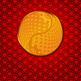 Chinese Pair of Fish in Yin Yang Circle on Red. Chinese Pair of Fish in Yin Yang Eternity Circle Illustration on Red Pattern Background Stock Photo