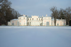 Chinese palace of Catherine II in the cloudy February afternoon. Oranienbaum Stock Photo