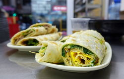 Chinese Pancake Roll with Chives and Egg Stock Photo