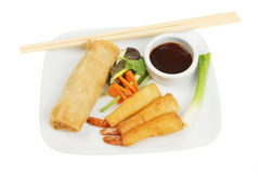 Chinese pancake rolls and prawns Stock Images