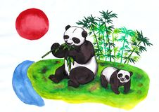 Chinese Panda mother eating bamboo and cub red sun rising in china stock illustration