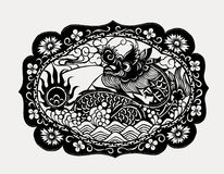Chinese paper art dragon print Royalty Free Stock Photography