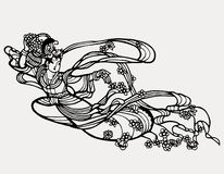 Chinese paper art fairy print Stock Image