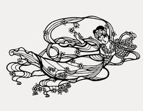 Chinese paper art fairy print Stock Photography