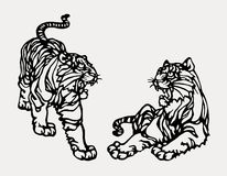 Chinese paper art tiger print Royalty Free Stock Photo