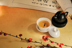 Chinese paper background. Oolong tea with flower on the paper table Stock Images