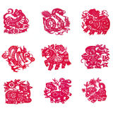 Chinese paper-cut. Beautiful Chinese Zodiac paper cut with isolated white background Stock Images