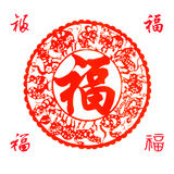 Chinese paper-cut. Traditional Chinese Paper-cut for celebration of Spring Festival or Wedding, very popular in Chinese family.The pronunciation of the text is Royalty Free Stock Photos