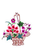 Chinese paper-cut color flower basket Royalty Free Stock Images