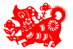 Chinese paper-cut dog Royalty Free Stock Image