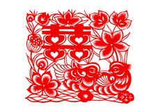 Chinese paper-cut: festival Royalty Free Stock Image