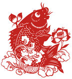Chinese paper-cut of fish Stock Image