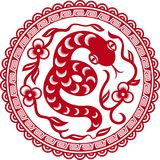 Chinese paper cut snake as symbol of year. 2013 Royalty Free Stock Photo