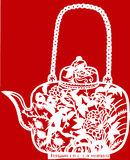 Chinese paper-cut of teapot Royalty Free Stock Photos