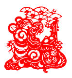 Chinese paper cut for tiger year of 2010. Paper-cut tiger for chinese new year (2010 is the tiger year). Paper-cut is a traditional art in China stock illustration