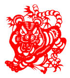 Chinese paper cut for tiger year of 2010. Paper-cut tiger for chinese new year (2010 is the tiger year). Paper-cut is a traditional art in China Royalty Free Stock Photography
