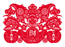 Chinese paper cutting - the bat to send money stock illustration