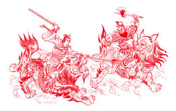 Chinese paper-cutting - fighting stock photography