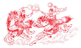 Chinese paper-cutting - fighting royalty free stock image