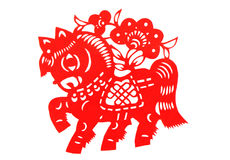 Chinese paper cutting horse Stock Photography