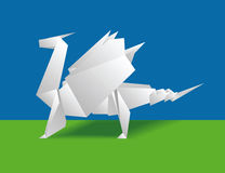 Chinese paper dragon. On a green background. Origami stock illustration