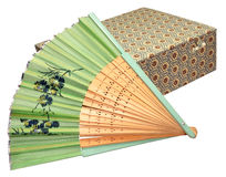 Chinese Paper Fan And Box Royalty Free Stock Photography