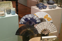 Chinese paper folding fans Stock Photo