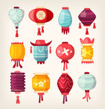 Chinese paper hanging lanterns Royalty Free Stock Images
