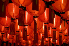 Chinese paper lantern diagonal. Photo of chinese red paper lantern inside temple Stock Images