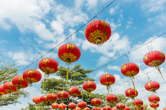 Chinese Paper Lanterns against a Blue Sky Royalty Free Stock Image