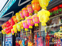 Chinese paper lanterns at Chinatown in New York. NEW YORK,USA - AUGUST 21,2015 : Traditional chinese paper lanterns and varied decorations for sale at Chinatown royalty free stock photography