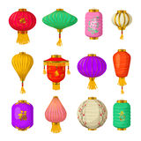 Chinese paper lanterns icons set, cartoon style Stock Image