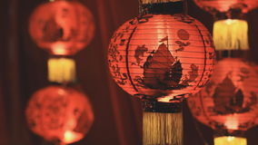 Chinese paper lanterns in the night stock video footage