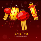 Chinese Paper Street or House Lantern Background. Vector Stock Photos