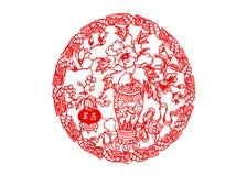 Chinese papier-besnoeiing: goed geluk stock foto