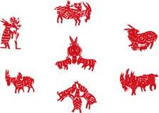 Chinese papier-besnoeiing schapen Stock Afbeeldingen