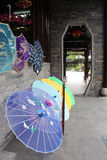 Chinese parasols. Colorful traditional Chinese parasols in the porch stock photography