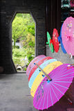 Chinese parasols. Colorful traditional Chinese parasols in the porch royalty free stock image